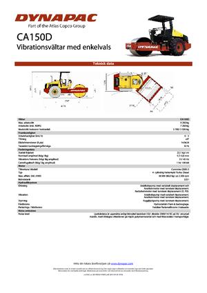 Pojedyncze walce drogowe Dynapac CA 150 D